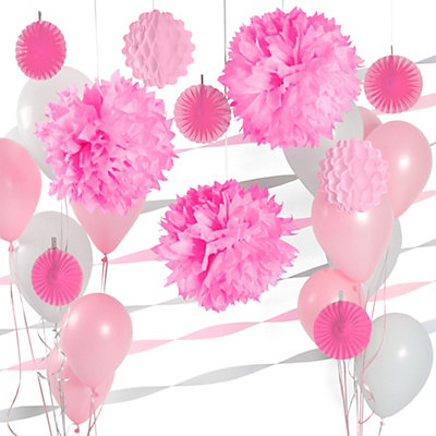Pink & White - Bridal Shower Decoration Kit
