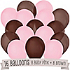 Brown and Pink - Birthday Party Latex Balloons - 16 ct