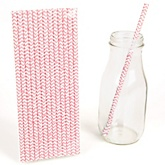 Pink Chevron Paper Straws - Baby Shower Do It Yourself - 25 Count