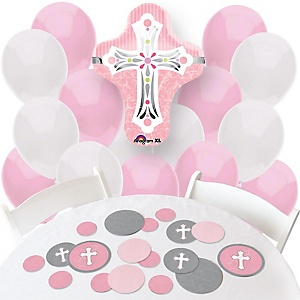 Little Miracle Girl Pink & Gray Cross - Confetti and Balloon Party Decorations - Combo Kit