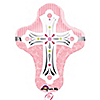 Pink Cross - Baptism Mylar Balloon