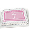 Delicate Pink Cross - Personalized Baptism Cake Toppers