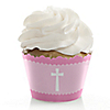 Delicate Pink Cross - Baptism Cupcake Wrappers & Decorations