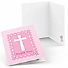 Delicate Pink Cross - Baptism Thank You Cards - 8 ct