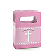 Delicate Pink Cross - Personalized Baptism Mini Favor Boxes