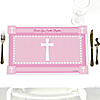 Delicate Pink Cross - Personalized Baptism Placemats