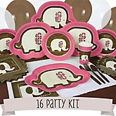 Girl Elephant - 16 Person Baby Shower Kit