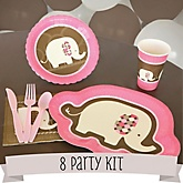 Pink Baby Elephant - 8 Person Baby Shower Kit