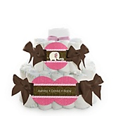 Pink Baby Elephant - 2 Tier Personalized Square Baby Shower Diaper Cake