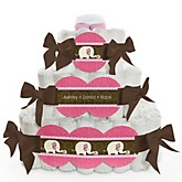 Pink Baby Elephant - 3 Tier Personalized Square Baby Shower Diaper Cake