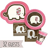 Pink Baby Elephant - Baby Shower Tableware Bundle for 32 Guests