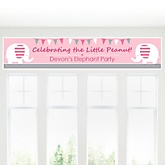 Pink Baby Elephant - Personalized Baby Shower Banner
