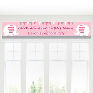 Pink Baby Elephant - Personalized Baby Shower Banners