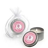 Pink Baby Elephant - Candle Tin Personalized Baby Shower Favors