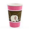 Pink Baby Elephant  - Baby Shower Hot/Cold Cups - 8 ct