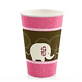 Pink Baby Elephant - Baby Shower Hot/Cold Cups - 8 Pack