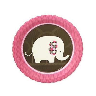 Pink Baby Elephant - Dessert Plates - 8 Qty/Pack - Baby Shower Tableware