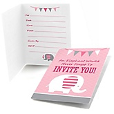 Pink Baby Elephant - Fill In Baby Shower Invitations - Set of  8