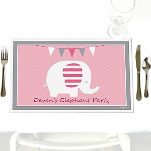 Pink Baby Elephant - Personalized Baby Shower Placemats
