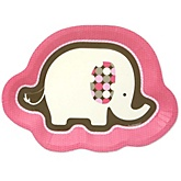 Pink Baby Elephant  - Baby Shower Dinner Plates - 8 ct
