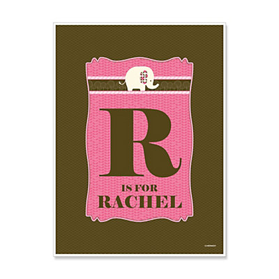 Pink Baby Elephant - Personalized Baby Shower Poster Gifts