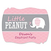 Pink Baby Elephant - Personalized Baby Shower Squiggle Sticker Labels - 16 Count