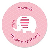Pink Baby Elephant - Personalized Baby Shower Round Sticker Labels - 24 Count