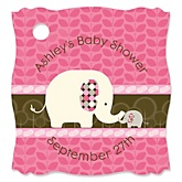 Pink Baby Elephant  - Personalized Baby Shower Tags - 20 Count