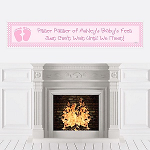 Baby Feet Pink - Personalized Baby Shower Banners