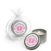 Baby Feet Pink - Candle Tin Personalized Baby Shower Favors