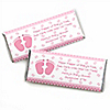 Baby Feet Pink - Personalized Baby Shower Candy Bar Wrapper Favors