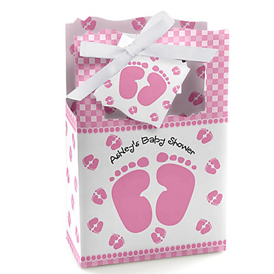 baby feet pink personalized baby shower favor boxes
