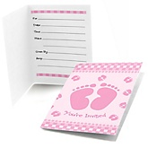 Baby Feet Pink - Fill In Baby Shower Invitations - Set of  8