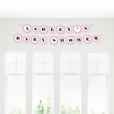 Baby Feet Pink - Personalized Baby Shower Garland Banner