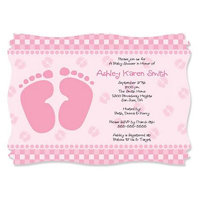 baby feet pink baby shower invitations