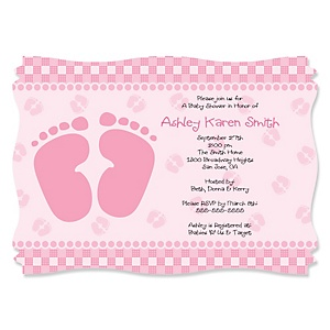 Baby Feet Pink - Personalized Baby Shower Invitations