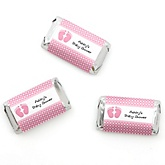 Baby Feet Pink - Personalized Baby Shower Mini Candy Bar Wrapper Favors - 20 ct