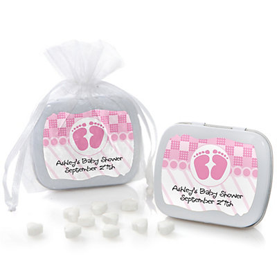baby feet pink mint tin personalized