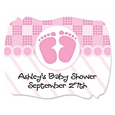 Baby Feet Pink - Personalized Baby Shower Squiggle Sticker Labels - 16 Count