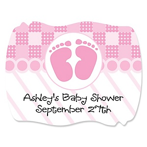 Baby Feet Pink - Personalized Baby Shower Squiggle Stickers - 16 ct