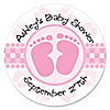 Baby Feet Pink - Personalized Baby Shower Sticker Labels - 24 ct