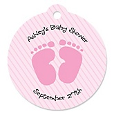 Baby Feet Pink - Round Personalized Baby Shower Die-Cut Tags - 20 Count