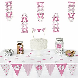 Baby Feet Pink - 72 Piece Triangle Baby Shower Decoration Kit
