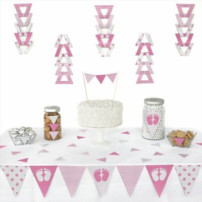 Baby Feet Pink   72 Piece Triangle Baby Shower Decoration Kit