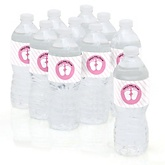 Baby Feet Pink - Baby Shower Personalized Water Bottle Sticker Labels - 10 Count