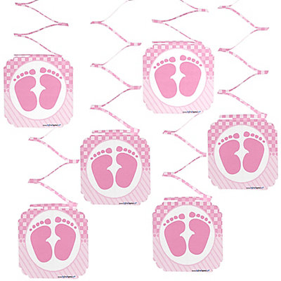 Baby feet pink baby shower hanging decorations 6 ct for Baby feet decoration