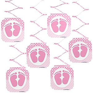 Baby feet pink baby shower decorations theme for Baby feet decoration