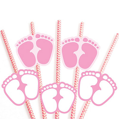 Baby feet pink baby shower do it yourself straw decor for Baby feet decoration