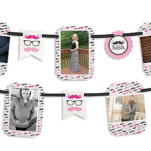 Pink Mustache Bash - Baby Shower Photo Bunting Banner