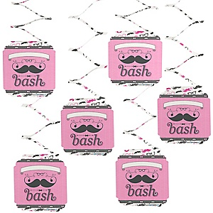 Pink Mustache Bash - Baby Shower Hanging Decorations - 6 Count